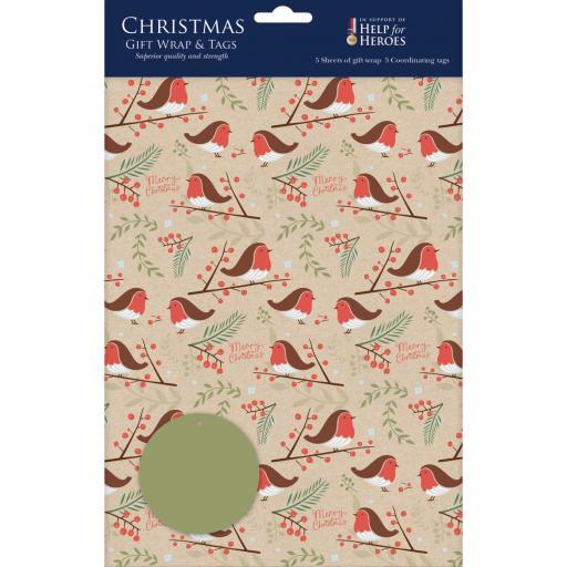 Christmas Wrap & Tags - Christmas Robins