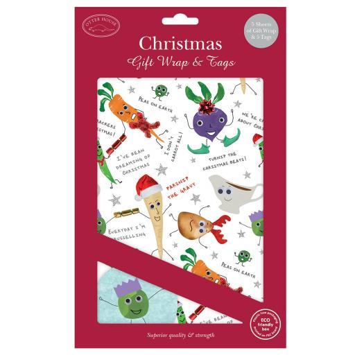 Christmas Wrap & Tags - Festive Veggies