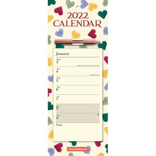 Emma Bridgewater Polka Hearts WTV Magnetic Calendar 2022