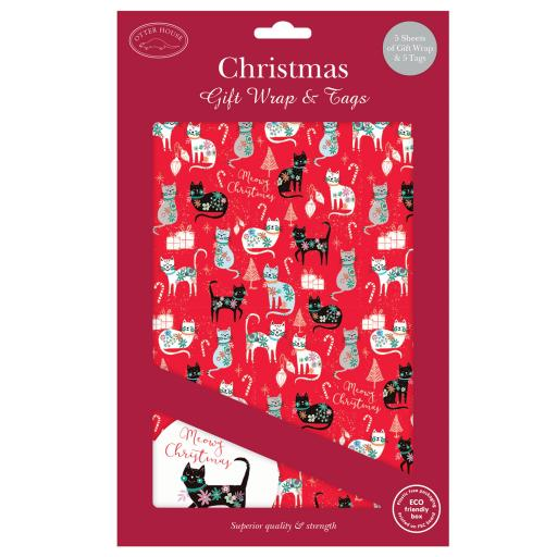 Christmas Wrap & Tags - Festive Cats