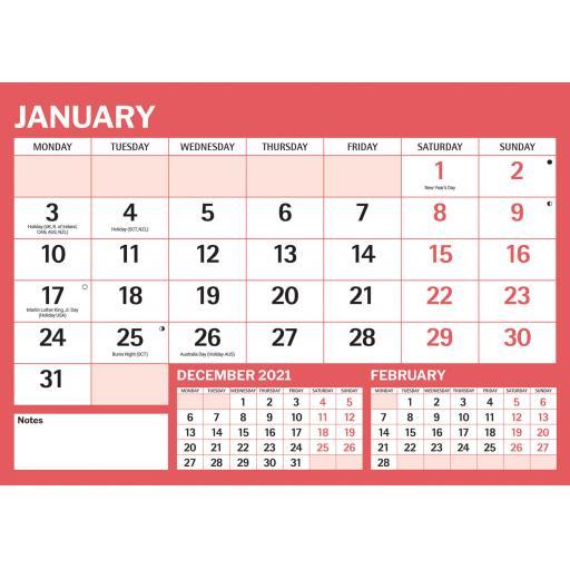 Red & Black Large Boldtype A4 Calendar 2022