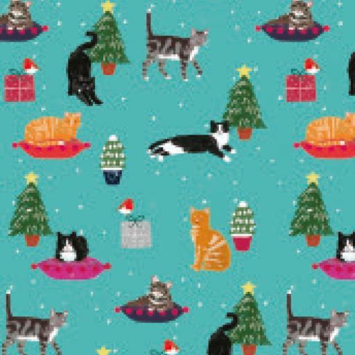 Christmas Wrap & Tags - Christmas Kitty cats