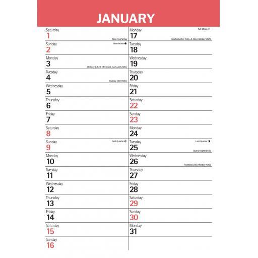 Red & Black Large Engagement A3 Calendar 2022