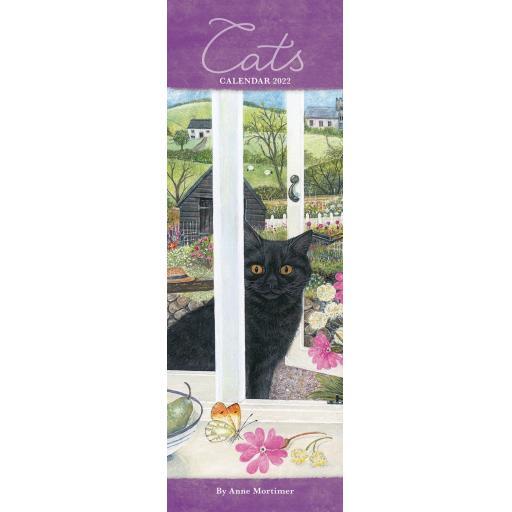 Cats By Anne Mortimer Slim Calendar 2022