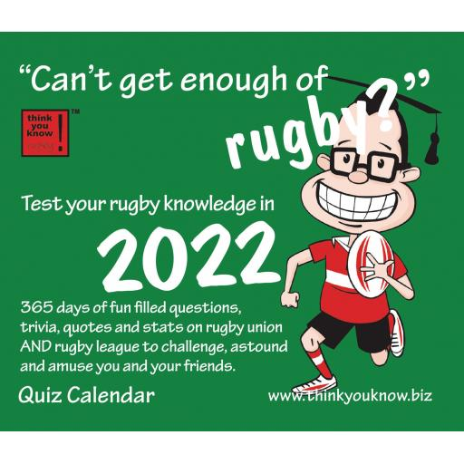Cant Get Enough of Rugby Boxed Calendar 2022