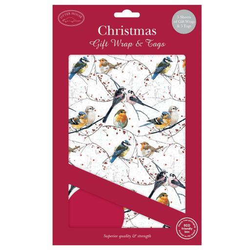 Christmas Wrap & Tags - Bird's & Berries