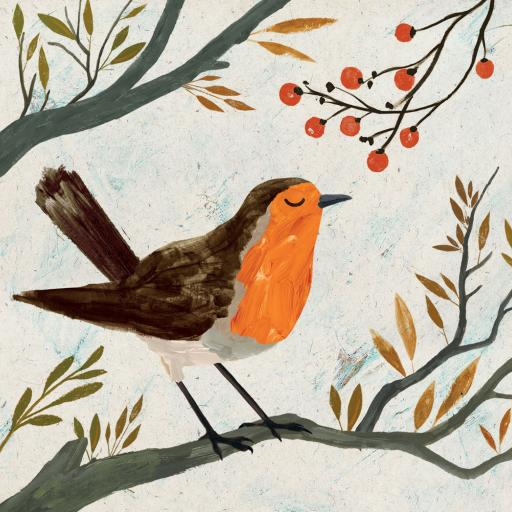 Charity Christmas Card Pack - Robin & Berries