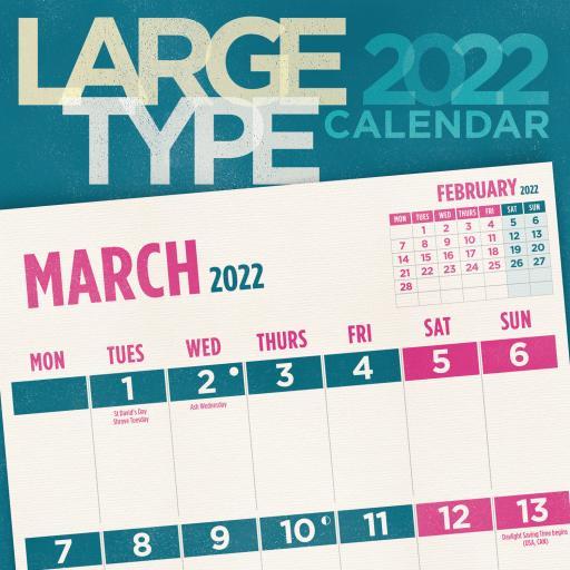 Large Type Wall Calendar 2022